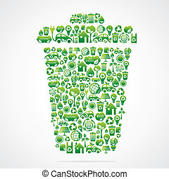 dustbin design with eco green icon stock vector