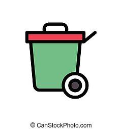 dustbin  flat color icon