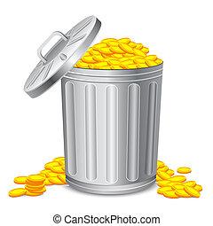 Dustbin full of Coin - illustration of dustbin full of gold...