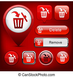 Dustbin high-detailed web button collection.