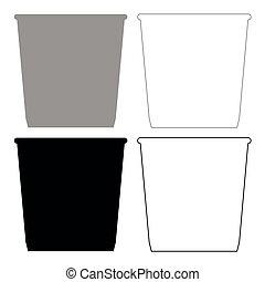 Dustbin or trash basket icon . Illustration grey and black...