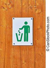 Dustbin sign closeup - Sign on a dustbin in a public park