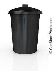 dustbin - front view of a black recycling bin (3d render)