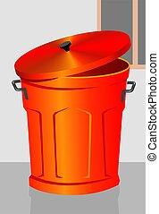 Dustbin - Illustration of a red dustbin