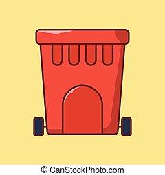 dustbin vector flat colour icon