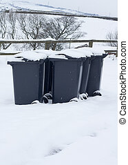 dustbins out in the snow