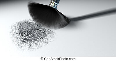 Dusting For Fingerprints On White - A crime scene brush...