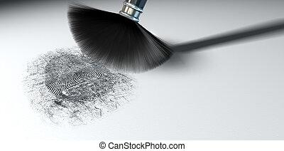 A crime scene brush dusting black talcum powder revealing and a fingerprint mark on an isolated white background