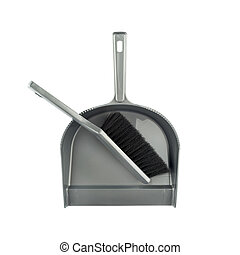 Dustpan and brush floor sweeper over white background. House...