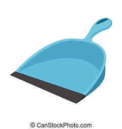 Dustpan blue cartoon icon