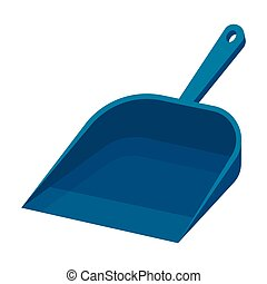Dustpan icon in cartoon style isolated on white background. Cleaning symbol stock vector illustration.
