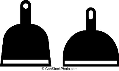 Dustpan vector icon set isolated on white background