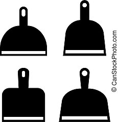 Dustpan vector icons set isolated on white background