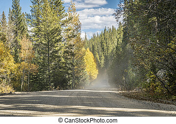 dusty road in Colorado high country