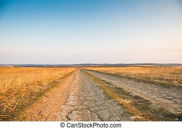 dusty road to horizon