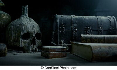 Dusty Table With Skull In Old Mansion - Tracking shot moving...