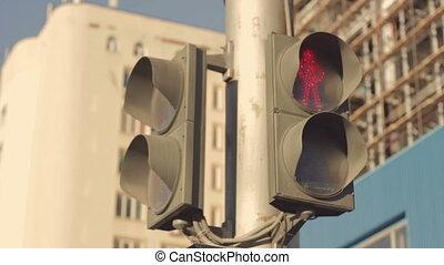 Dusty Traffic light shows Green light