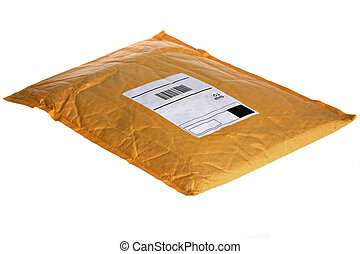 Dusty Yellow Mail Package - Dusty Old Mail Package Isolated