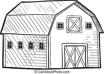 Dutch barn sketch - Doodle style retro barn from rural area...