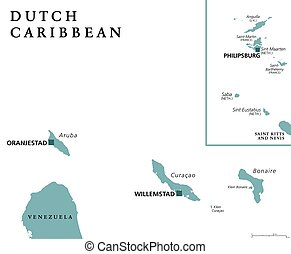 Dutch Caribbean political map