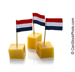 dutch cheese cubes with red white blue Netherlands flag