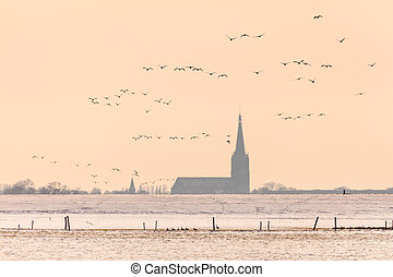 Dutch church in winter with geese flying by