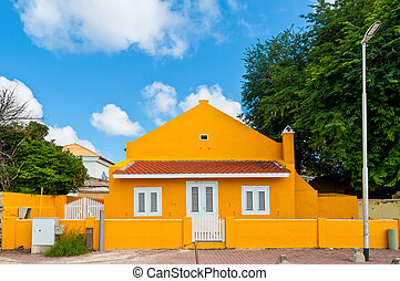 Dutch colorful houses on Bonaire, Caribbean