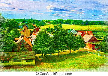 Dutch Countryside - Landscape of Dutch countryside. Artistic...