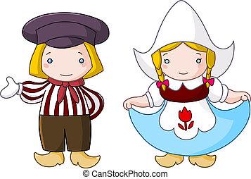 Dutch couple - Traditional Dutch couple cartoon