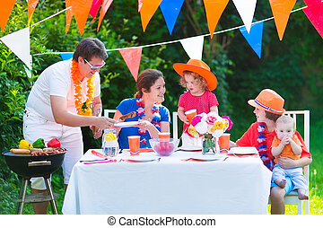 Dutch family having grill party - Happy big Dutch family...