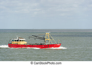 Dutch fishing boat at wadden sea