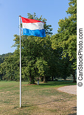 Dutch flag in rural landscape of the Netherlands