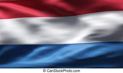DUTCH flag in slow motion - Creased cotton flag with visible...