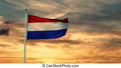 Dutch flag waving depicts the national symbol of The Netherlands or Holland - 4k