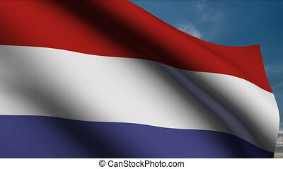 Dutch Flag waving in wind with clouds in background