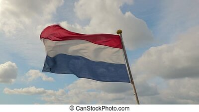 Dutch Flag Waving on a Boat - Flag of the Netherlands waving...