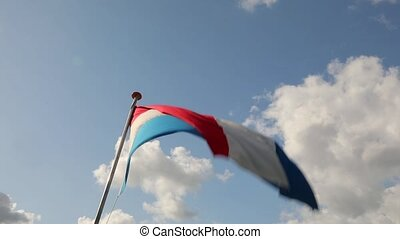 Dutch Flag Waving - Flag of the Netherlands waving against...