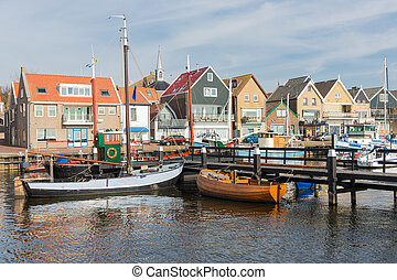 Dutch harbor of Urk with traditional wooden fishing ships