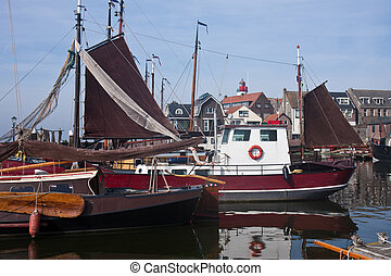 Dutch harbor of Urk with traditional ships