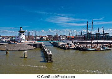 Harbor of harlingen is the departure point for the dutch wadden islands
