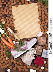 Dutch holiday Sinterklaas background with childrens shoe...