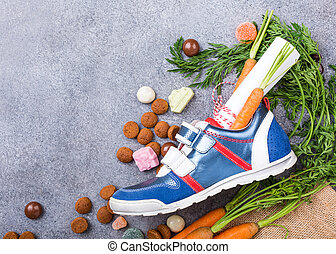 Dutch holiday Sinterklaas composition with childrens shoe...
