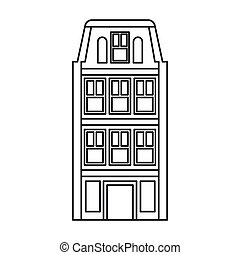 Dutch houses icon, outline style