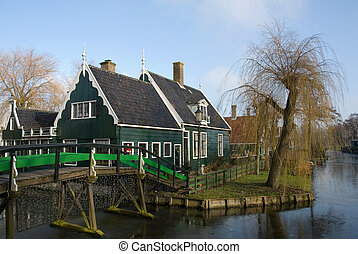 Traditional Dutch houses in the little village of Zaanse Schans, the Netherlands