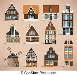 Dutch houses - Vector illustration of colorful simle dutch...