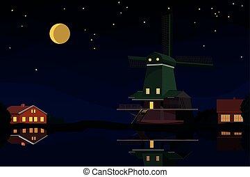 Dutch landscape at night