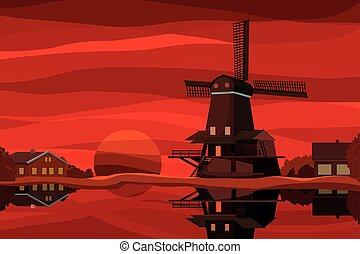 Dutch landscape at sunset