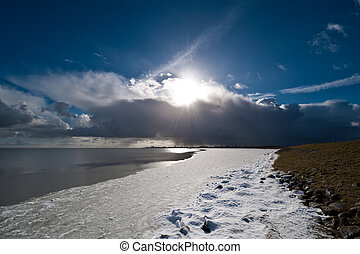 Dutch landscape in winter - Beautiful winter landscape in...