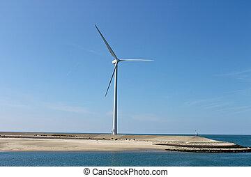 Dutch landscape. Wind turbines on the lake