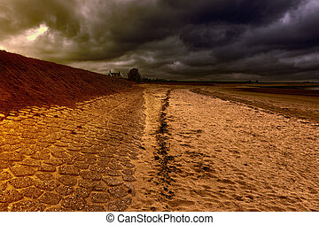 Dutch Landscape with Dike - The North Sea coast in Zealand ...